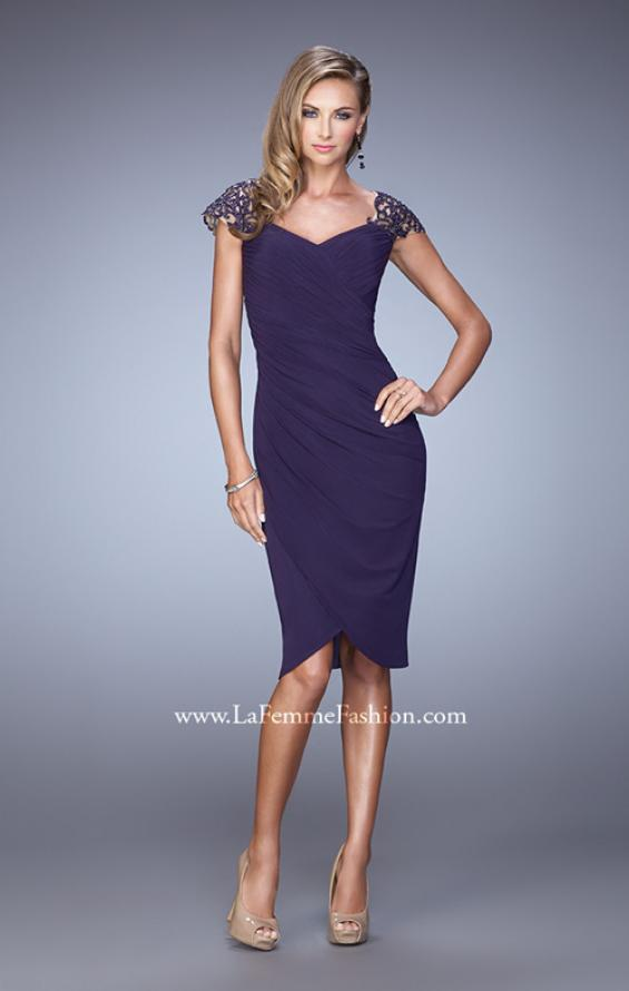 Picture of: Net Jersey Cocktail Dress with Embroidered Sleeves in Purple, Style: 21648, Detail Picture 2