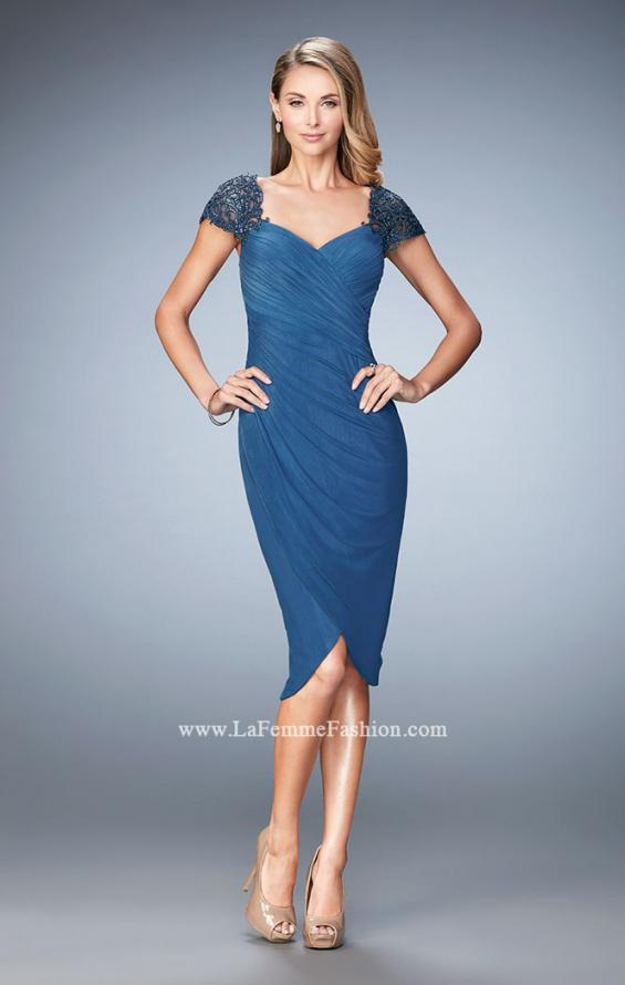 Picture of: Net Jersey Cocktail Dress with Embroidered Sleeves in Blue, Style: 21648, Detail Picture 3