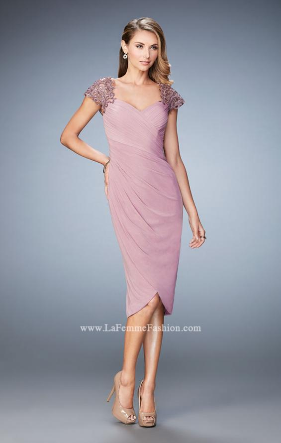 Picture of: Net Jersey Cocktail Dress with Embroidered Sleeves in Pink, Style: 21648, Detail Picture 4