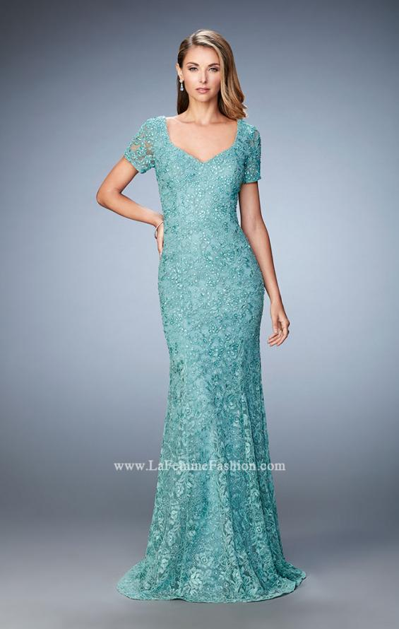Picture of: Lace Dress with Subtle Embellishments and Short Sleeves, Style: 21657, Detail Picture 2