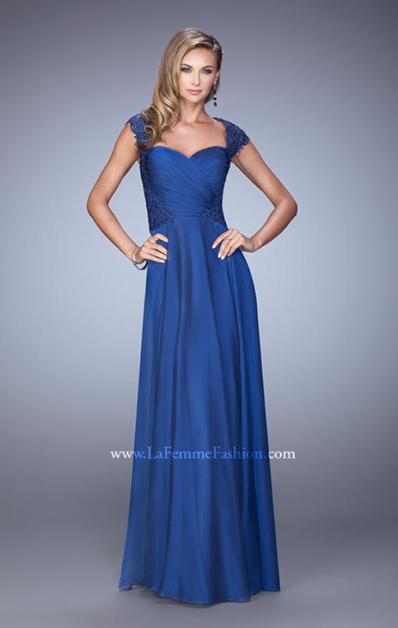 Picture of: Chiffon Dress with Criss Cross Gathered Knot Detail, Style: 21661, Detail Picture 2