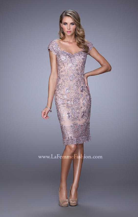 Picture of: Lace Rhinestone Cocktail Dress with V Neckline and Back in Pink, Style: 21663, Main Picture