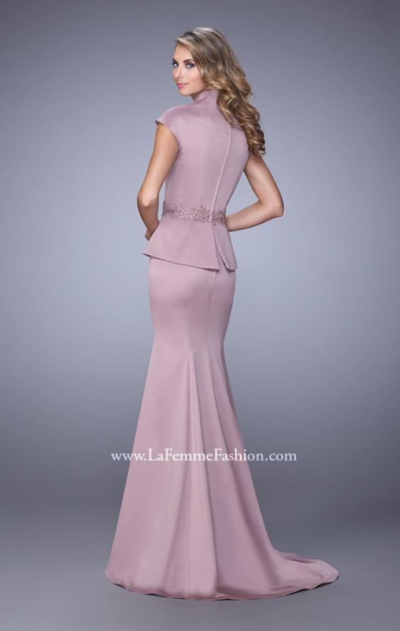 Picture of: Cap Sleeve Evening Dress with Mermaid Skirt and Collar, Style: 21666, Back Picture