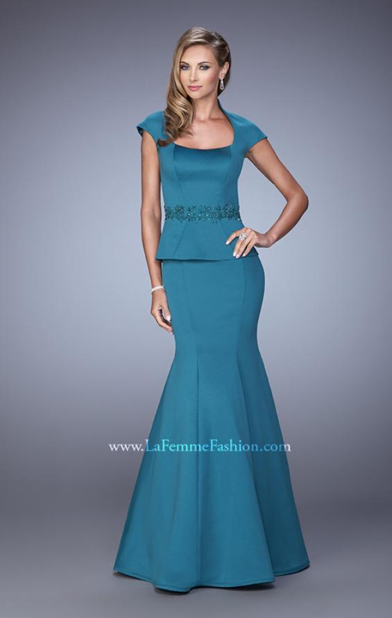 Picture of: Cap Sleeve Evening Dress with Mermaid Skirt and Collar, Style: 21666, Detail Picture 1