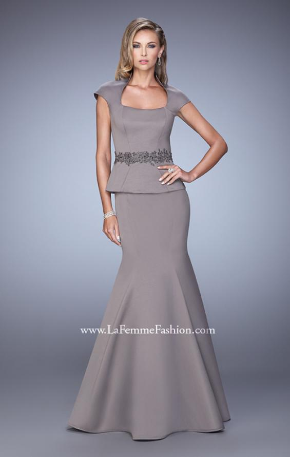 Picture of: Cap Sleeve Evening Dress with Mermaid Skirt and Collar, Style: 21666, Detail Picture 2