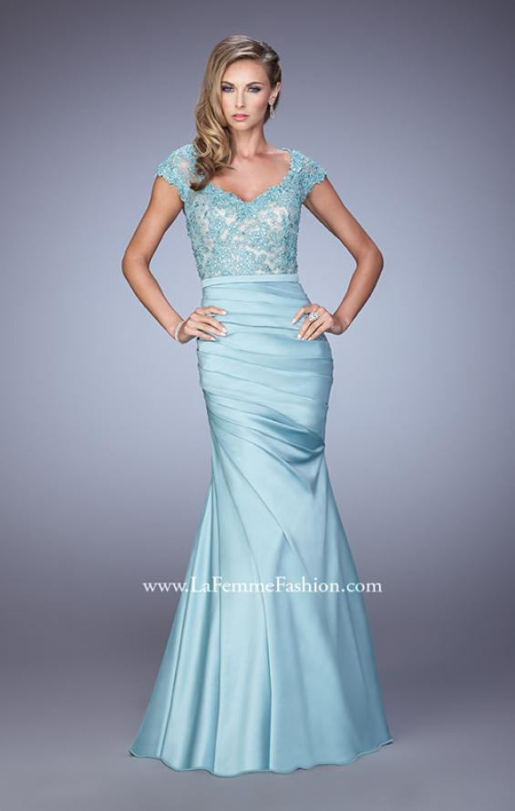 Picture of: Satin Dress with Beaded Lace Bodice and Gathering in Blue, Style: 21669, Detail Picture 1