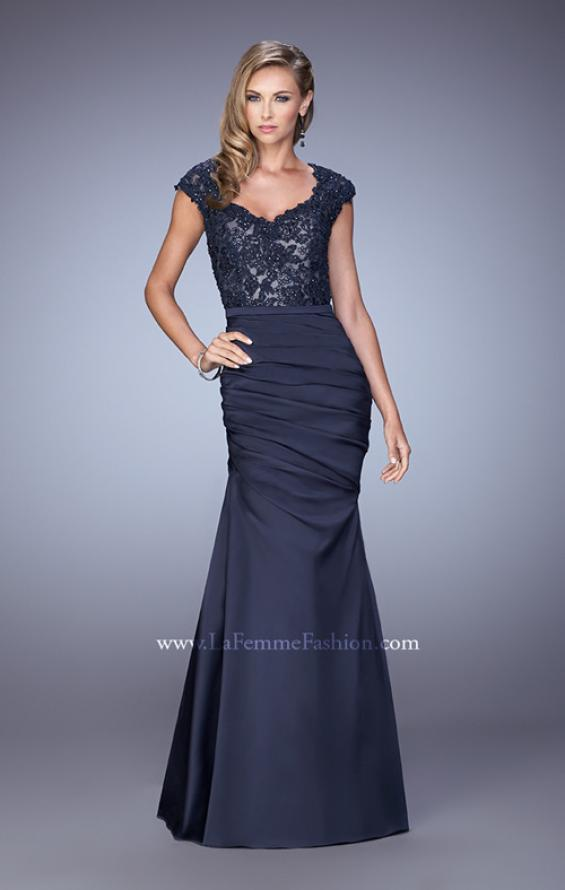 Picture of: Satin Dress with Beaded Lace Bodice and Gathering in Blue, Style: 21669, Detail Picture 2