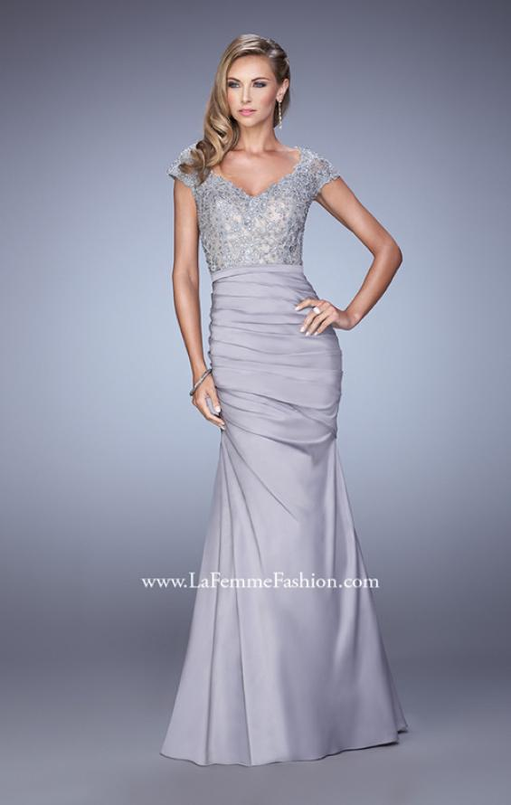 Picture of: Satin Dress with Beaded Lace Bodice and Gathering in Silver, Style: 21669, Detail Picture 3