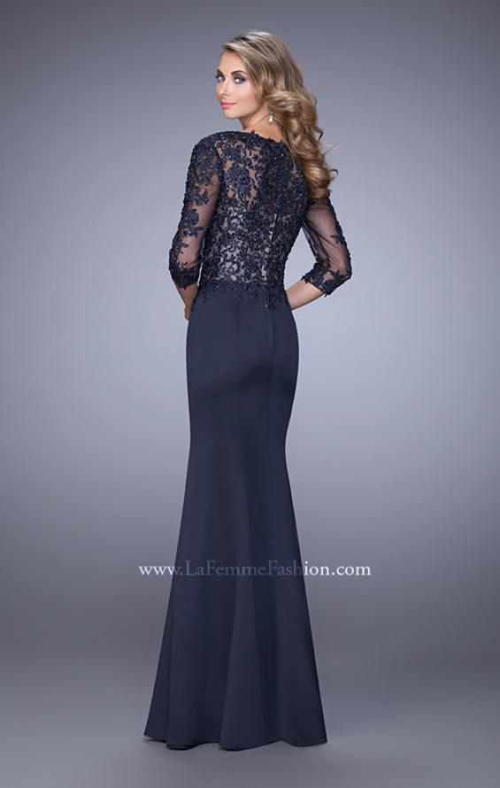 Picture of: Satin Mermaid Dress with Beading and 3/4 Sleeves in Blue, Style: 21673, Back Picture