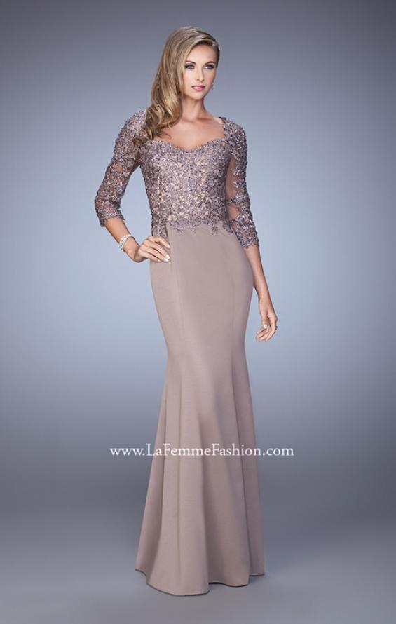 Picture of: Satin Mermaid Dress with Beading and 3/4 Sleeves in Brown, Style: 21673, Detail Picture 1