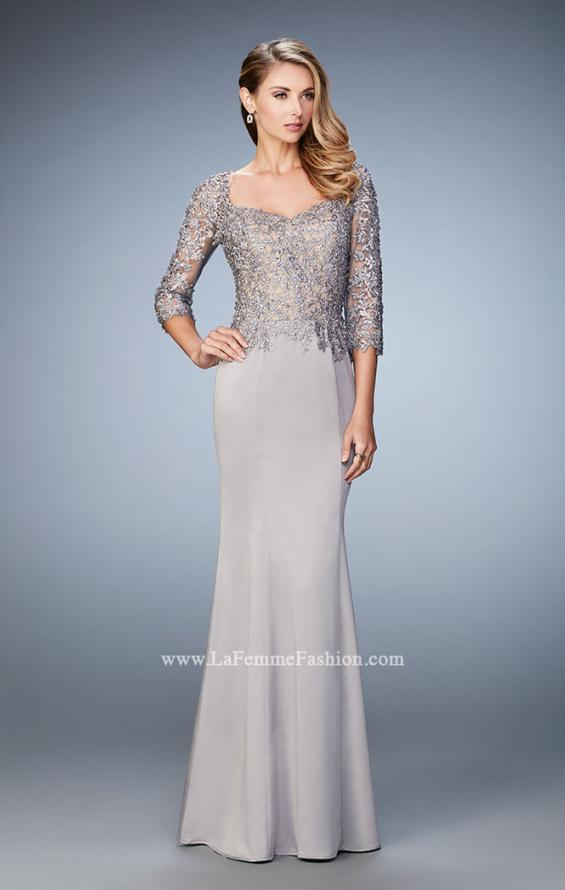 Picture of: Satin Mermaid Dress with Beading and 3/4 Sleeves in Silver, Style: 21673, Detail Picture 2