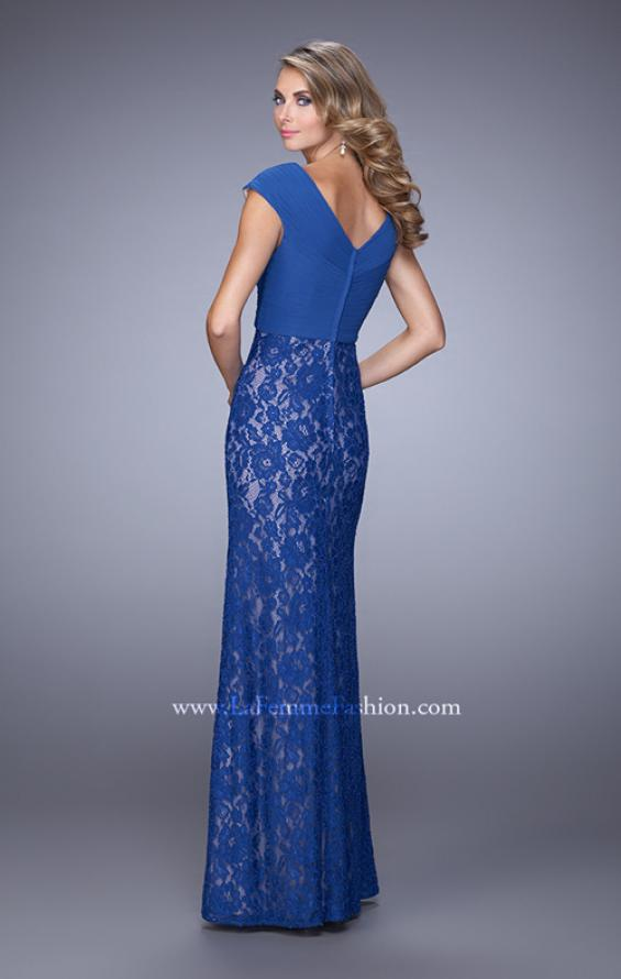 Picture of: Unique Lace Dress with Cap Sleeves and Ruching, Style: 21681, Back Picture