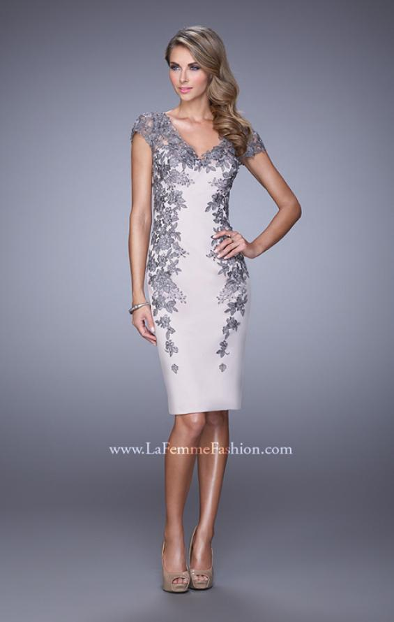 Picture of: Satin Cocktail Dress with Low V Open Back and Slit in Silver, Style: 21683, Main Picture