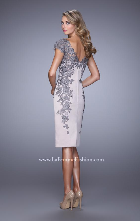 Picture of: Satin Cocktail Dress with Low V Open Back and Slit in Silver, Style: 21683, Back Picture