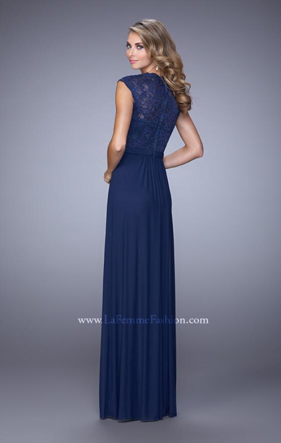 Picture of: Lace Capped Sleeve Dress with Sheer Detailing, Style: 21685, Back Picture