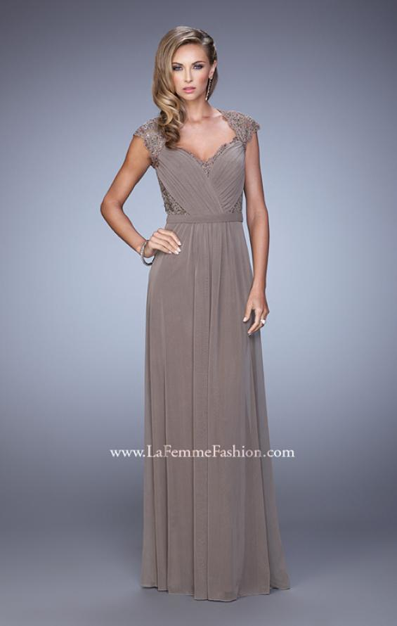 Picture of: Lace Capped Sleeve Dress with Sheer Detailing, Style: 21685, Detail Picture 1