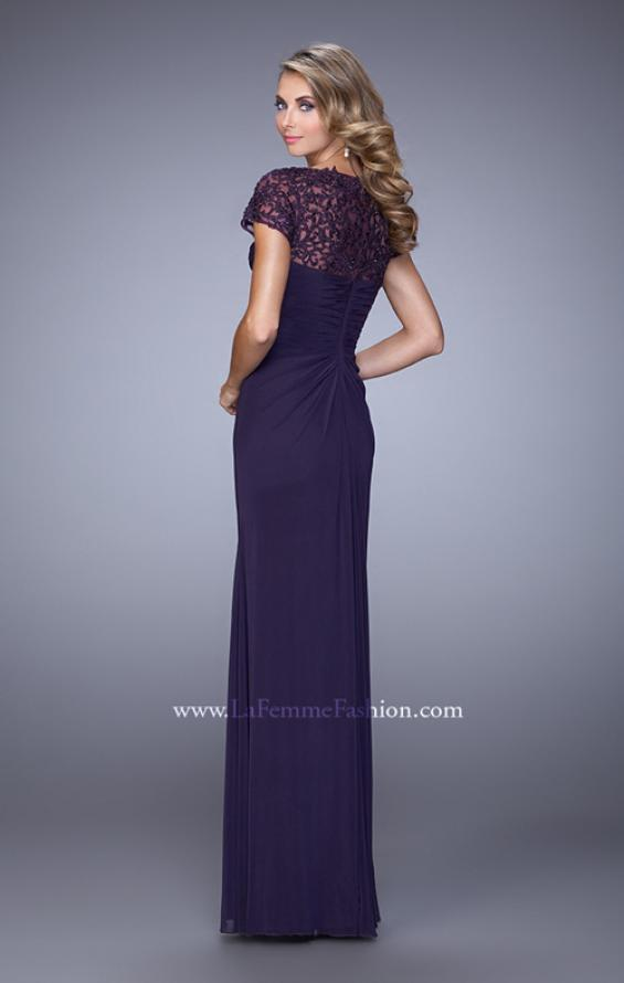 Picture of: Sheer Embroidered Short Sleeve Dress with Rhinestones in Purple, Style: 21690, Back Picture