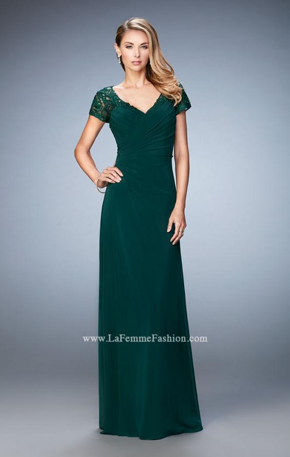 Picture of: Sheer Embroidered Short Sleeve Dress with Rhinestones in Green, Style: 21690, Detail Picture 2