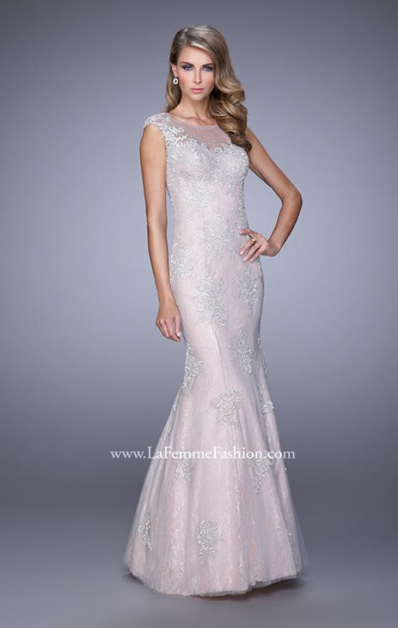 Picture of: Dress with Mermaid Skirt and Sheer Beaded Lace Sleeves in Pink, Style: 21699, Main Picture