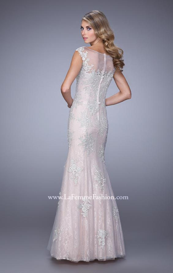 Picture of: Dress with Mermaid Skirt and Sheer Beaded Lace Sleeves in Pink, Style: 21699, Back Picture