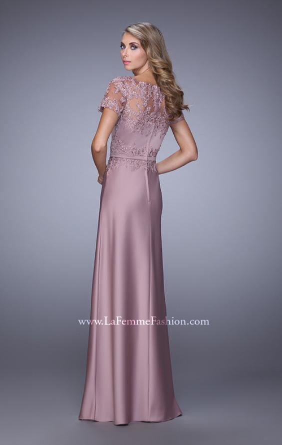 Picture of: Satin Dress with Sheer Sleeves, Belt, and Lace Trim, Style: 21701, Back Picture