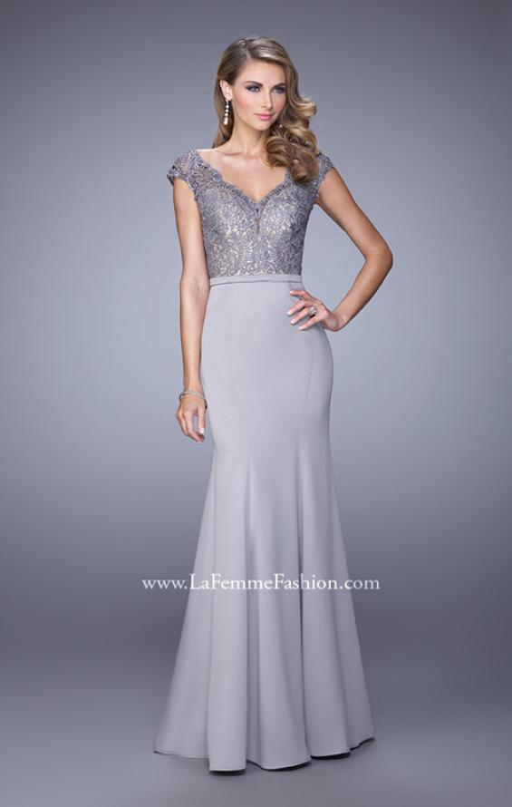 Picture of: Satin Dress with Mermaid Skirt and Lace Cap Sleeves in Silver, Style: 21702, Main Picture