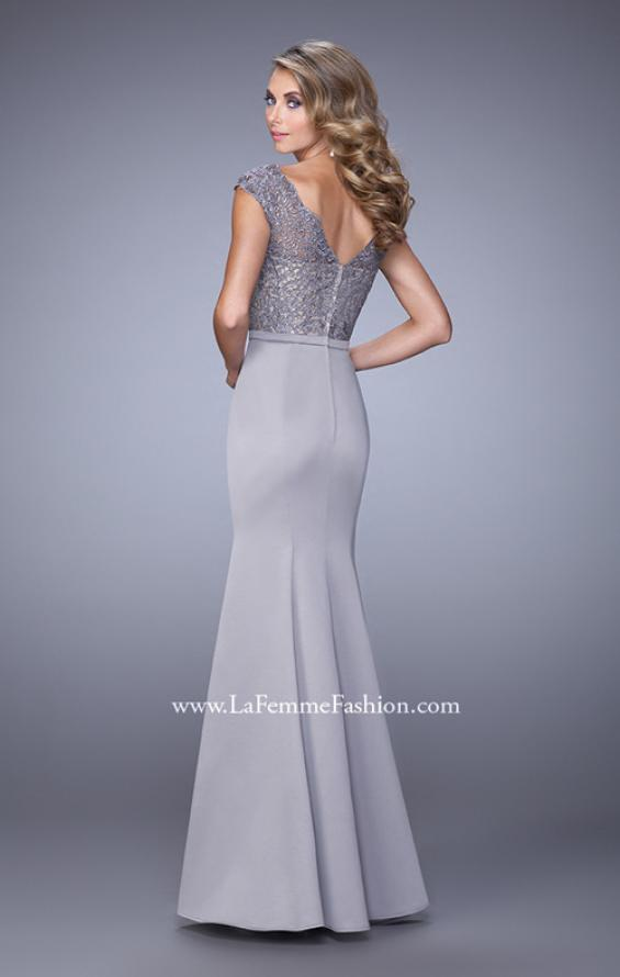 Picture of: Satin Dress with Mermaid Skirt and Lace Cap Sleeves in Silver, Style: 21702, Back Picture