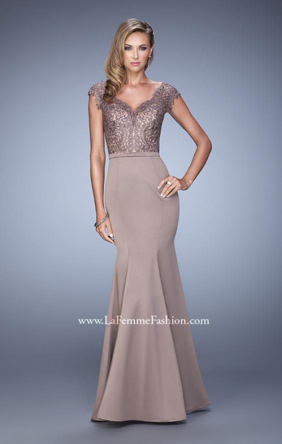 Picture of: Satin Dress with Mermaid Skirt and Lace Cap Sleeves in Brown, Style: 21702, Detail Picture 1
