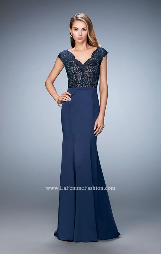 Picture of: Satin Dress with Mermaid Skirt and Lace Cap Sleeves in Blue, Style: 21702, Detail Picture 2