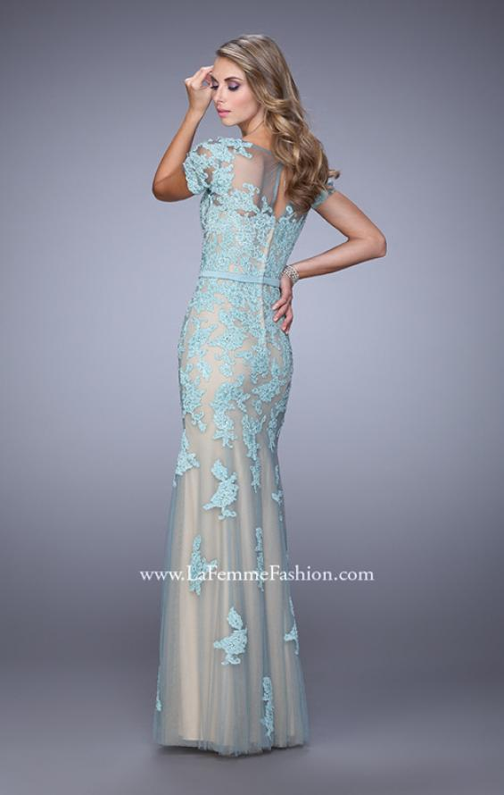 Picture of: Short Sleeve Dress with Lace Appliques and Keyhole Back, Style: 21703, Back Picture