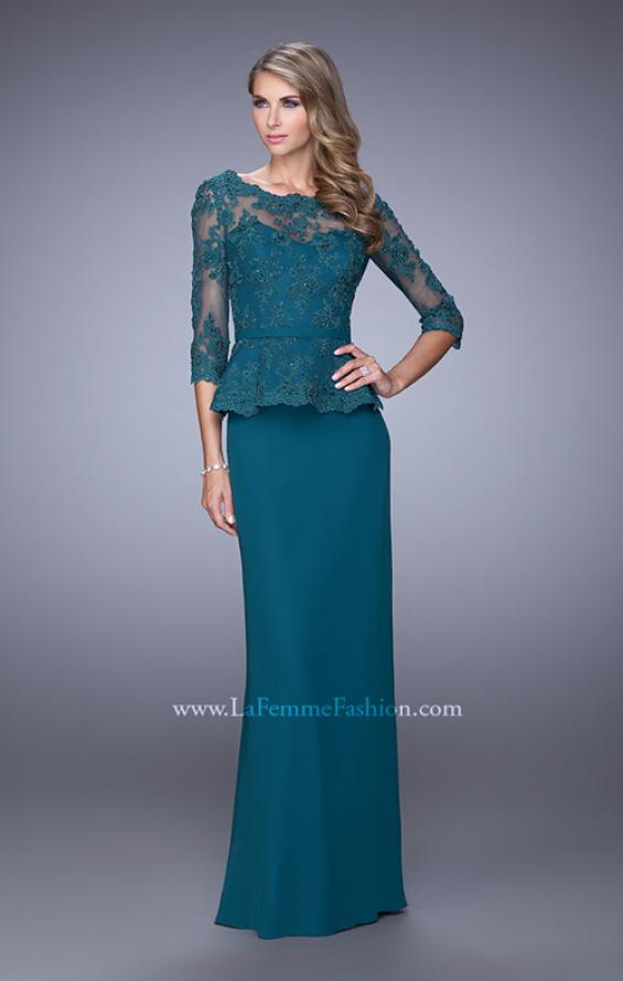 Picture of: Crepe Chiffon Dress with 3/4 Length Sleeves and Belt in Green, Style: 21709, Main Picture