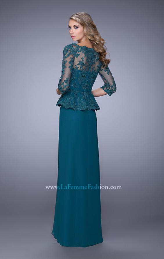 Picture of: Crepe Chiffon Dress with 3/4 Length Sleeves and Belt in Green, Style: 21709, Back Picture