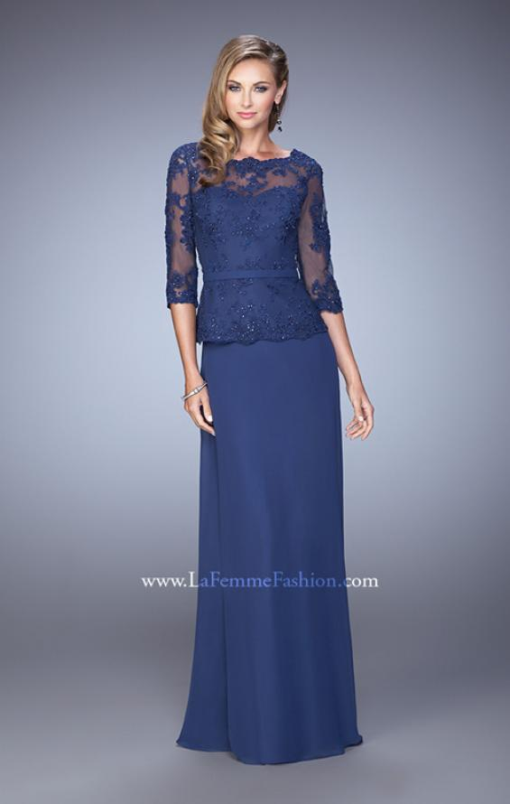 Picture of: Crepe Chiffon Dress with 3/4 Length Sleeves and Belt in Blue, Style: 21709, Detail Picture 1
