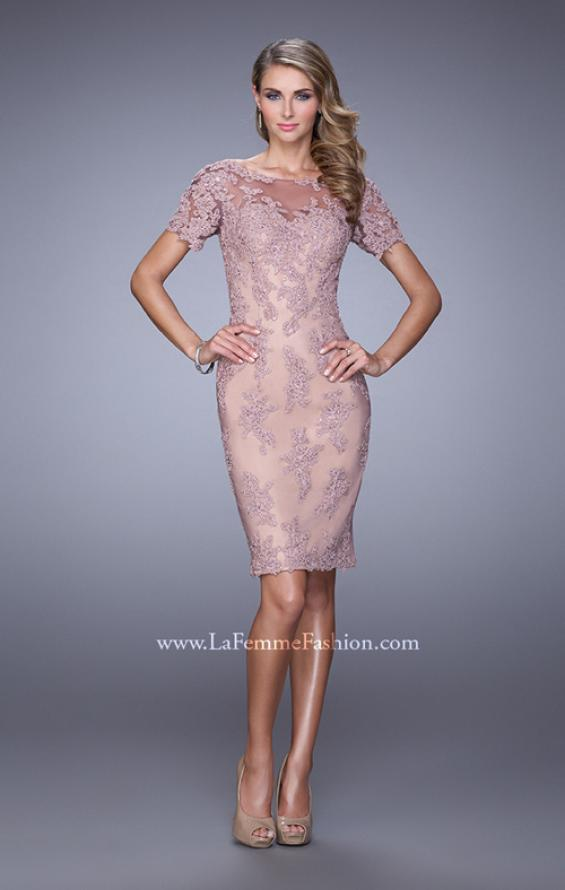 Picture of: Short Sleeve Lace Applique Cocktail Dress with Back Slit in Pink, Style: 21717, Main Picture