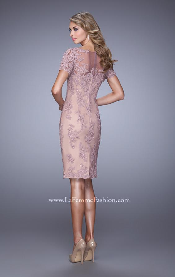 Picture of: Short Sleeve Lace Applique Cocktail Dress with Back Slit in Pink, Style: 21717, Back Picture