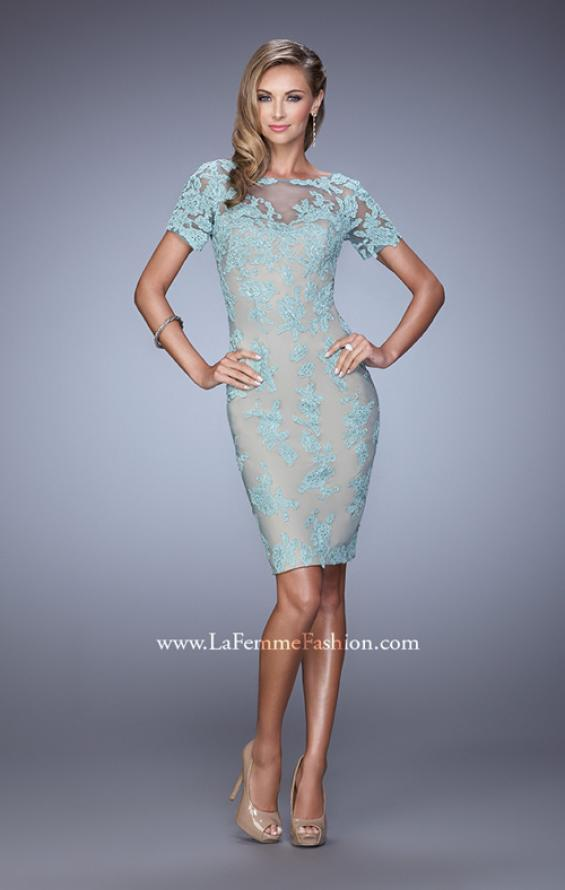 Picture of: Short Sleeve Lace Applique Cocktail Dress with Back Slit in Blue, Style: 21717, Detail Picture 1