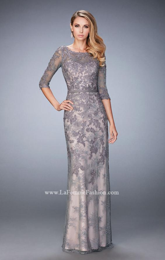 Picture of: Evening Gown with Lace Overlay, Belt, and 3/4 Sleeves in Silver, Style: 21740, Main Picture