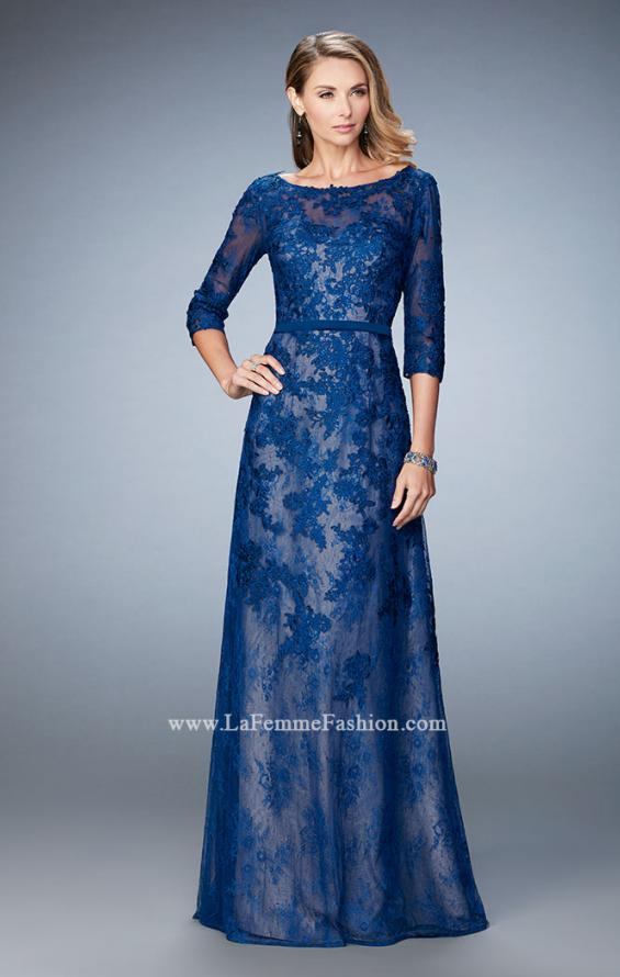 Picture of: Evening Gown with Lace Overlay, Belt, and 3/4 Sleeves in Silver, Style: 21740, Detail Picture 1