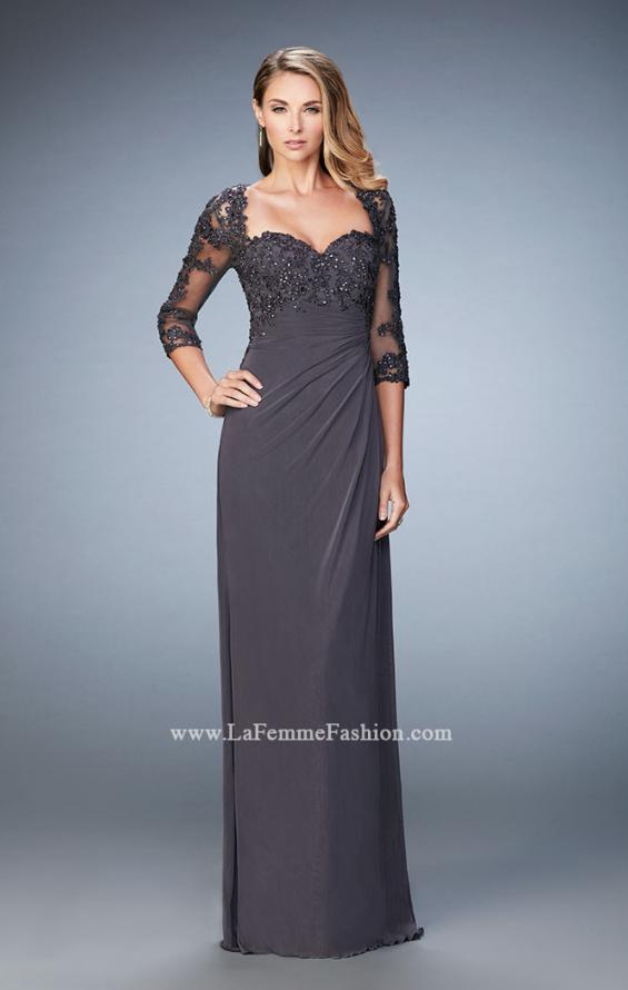 Picture of: Net 3/4 Sleeve Gown with Lace and Jewels in Silver, Style: 21750, Main Picture