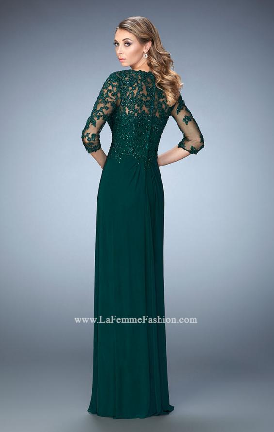 Picture of: Net 3/4 Sleeve Gown with Lace and Jewels in Green, Style: 21750, Back Picture