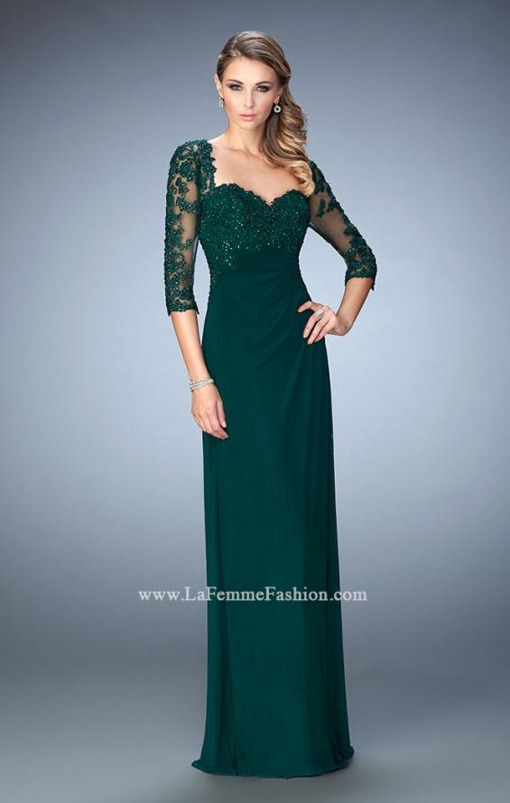Picture of: Net 3/4 Sleeve Gown with Lace and Jewels in Green, Style: 21750, Detail Picture 1