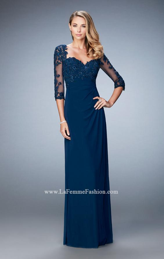 Picture of: Net 3/4 Sleeve Gown with Lace and Jewels in Blue, Style: 21750, Detail Picture 2