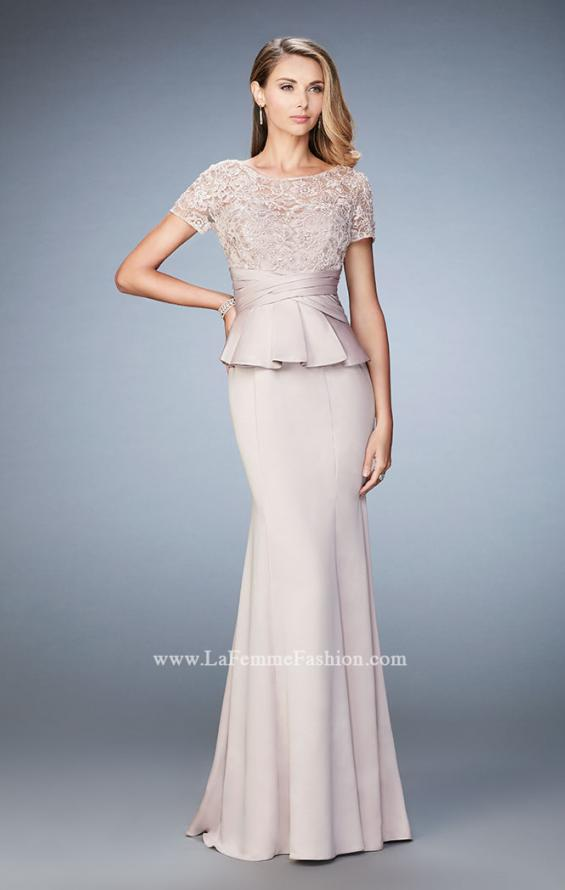 Picture of: Satin Evening Gown with Peplum Waist and Embellishments, Style: 21760, Detail Picture 1