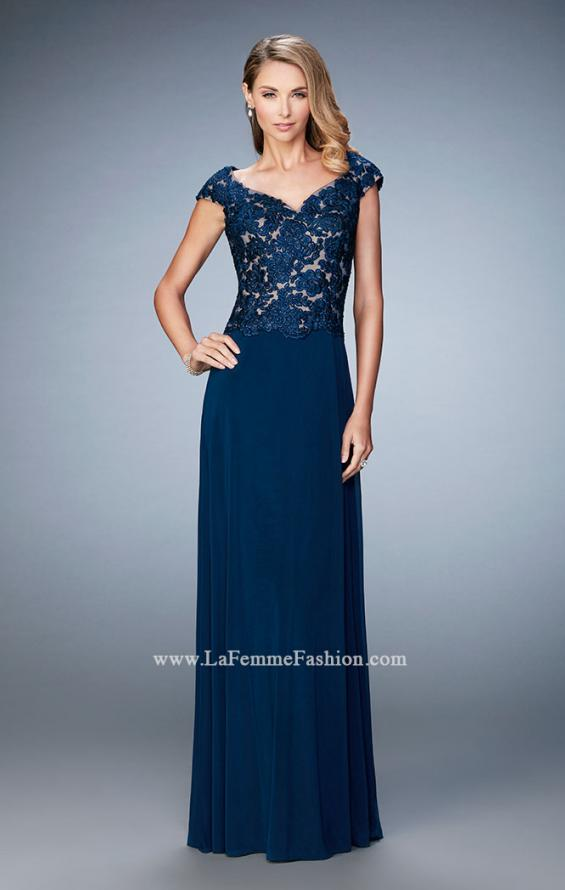 Picture of: Graceful Gown with Sweetheart Neck and Cap Sleeves in Blue, Style: 21767, Main Picture
