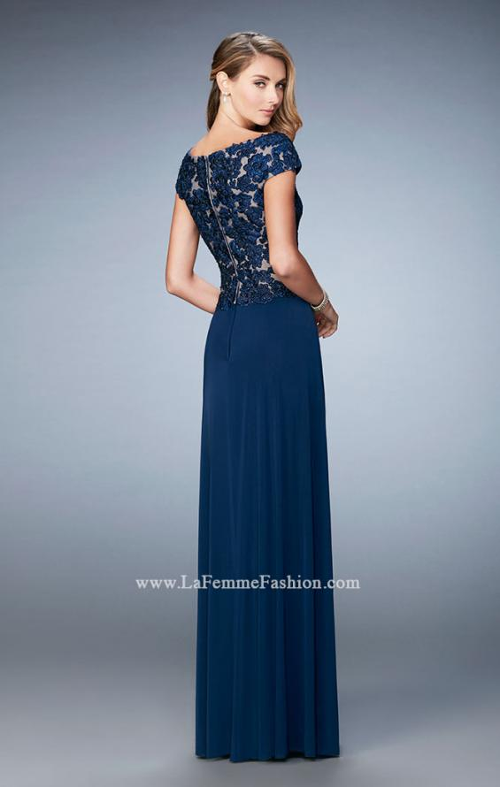 Picture of: Graceful Gown with Sweetheart Neck and Cap Sleeves in Blue, Style: 21767, Back Picture