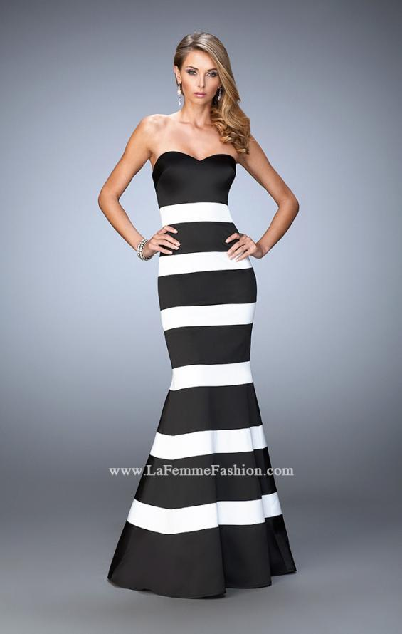 Picture of: Stretch Satin Mermaid Gown with Elegant Stripe Design in Black, Style: 21773, Main Picture