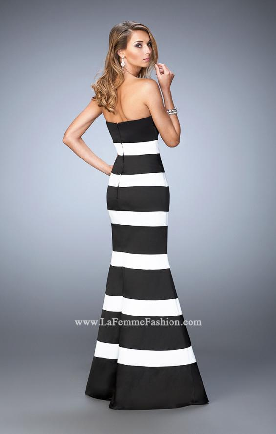 Picture of: Stretch Satin Mermaid Gown with Elegant Stripe Design in Black, Style: 21773, Back Picture