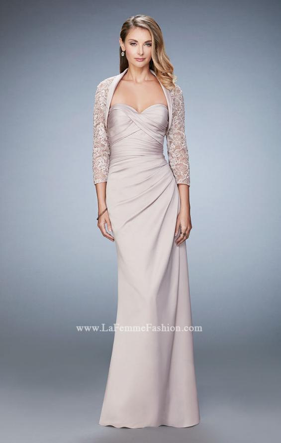 Picture of: Satin Evening Gown with Cropped Lace Jacket in Nude, Style: 21776, Main Picture
