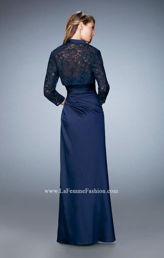Picture of: Satin Evening Gown with Cropped Lace Jacket in Blue, Style: 21776, Back Picture