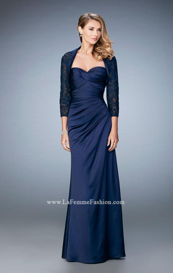 Picture of: Satin Evening Gown with Cropped Lace Jacket in Blue, Style: 21776, Detail Picture 2